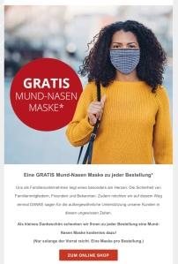 Bild: Junge Frau mit Mund-Nasen-Maske, dazu Schriftzug: Gratis Mund Nasen Maske zu Ihrer Bestellung
