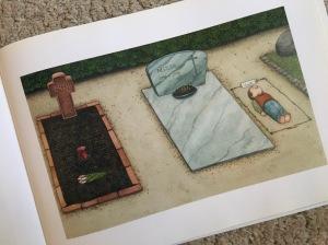 """Bild aus Kinderbuch: Junge spielt """"tot sein""""."""
