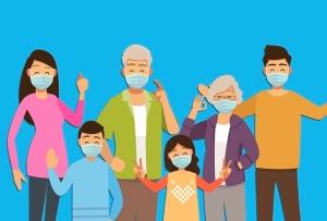 Grafik: Familie mit Mund-Nasen-Bedeckung