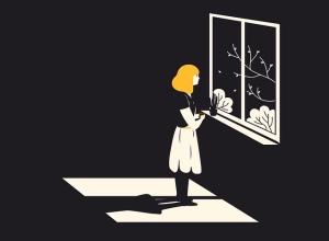 Grafik: Frau steht allein am Fenster und sieht nach draußen.