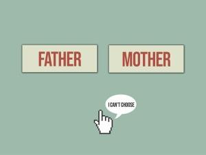 """Zwei Buttons """"Father"""" und """"Mother"""", davor Curser-Hand mit Satz """"I can't choose"""""""