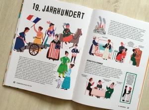 """Aufgeschlagene Doppelseite aus Buch """"Frauenleben im Lauf der Zeit""""."""