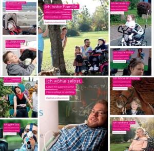 """Plakat """"rehaKind"""". Menschen mit Behinderung zeigen sich als """"ganz normale"""" Mitglieder der Gesellschaft mit Familie, Hobby, Beruf und Freundeskreis."""